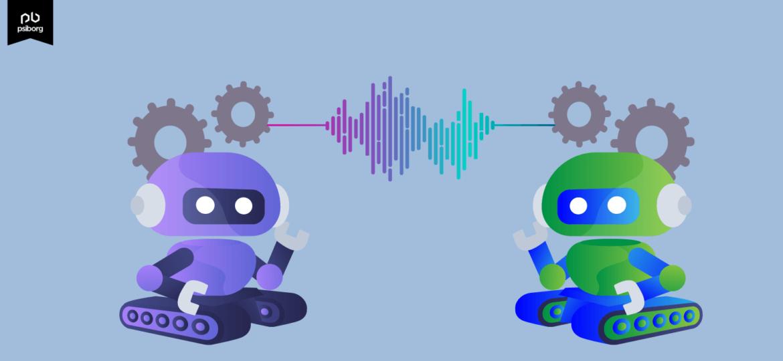 An animated figure simply explaining machine to machine communication